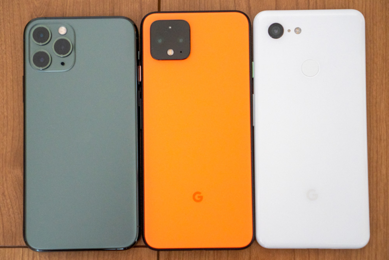 iPhone 11 Pro、Pixel 3との比較(背面)