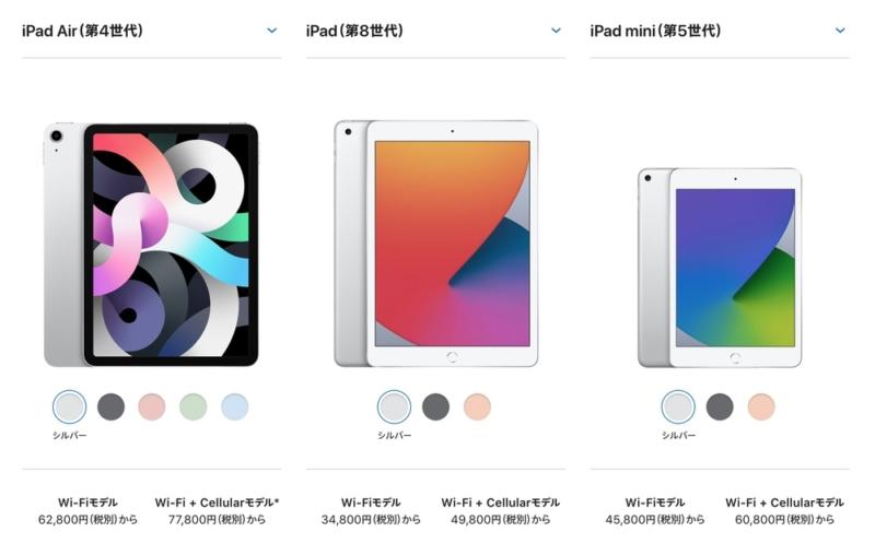 iPadラインアップ2020