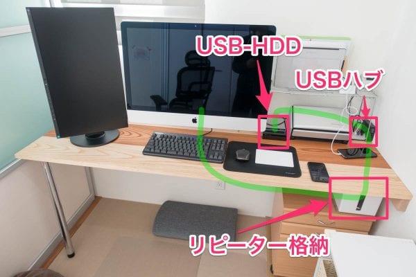 USB3.0リピーターケーブルを利用した配線