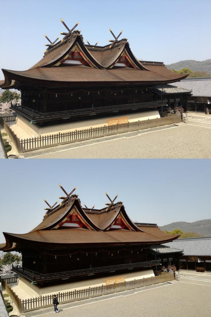 iPhone 6sとnova 2で撮影した神社を比較