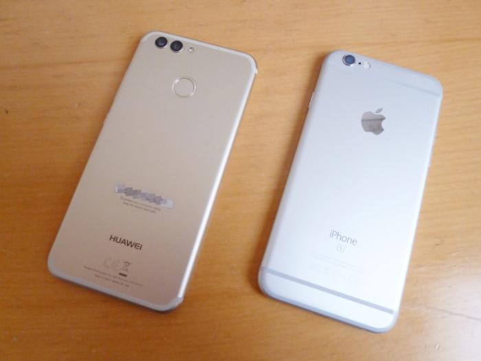 HUAWEI nova 2とiPhone 6sの背面