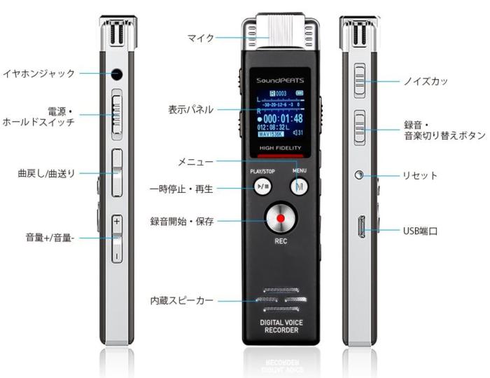 SoundPEATS(サウンドピーツ) Nano6 ボイスレコーダー 部位説明の画像