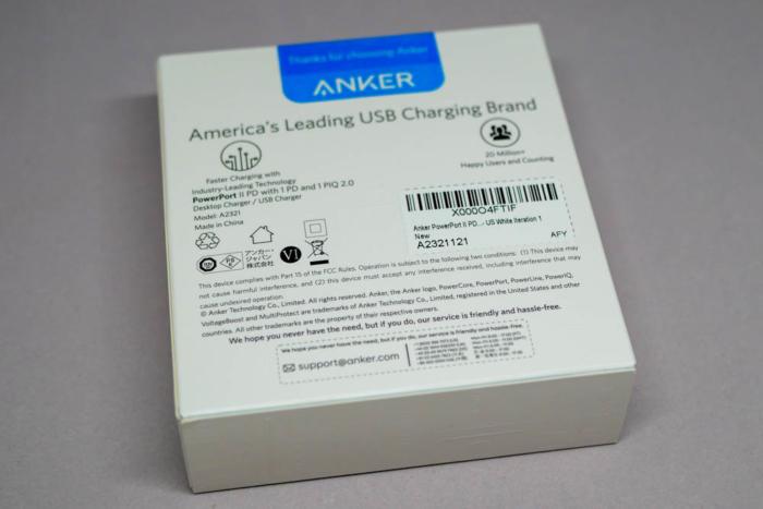 「Anker PowerPort ll PD」パッケージ(裏面)