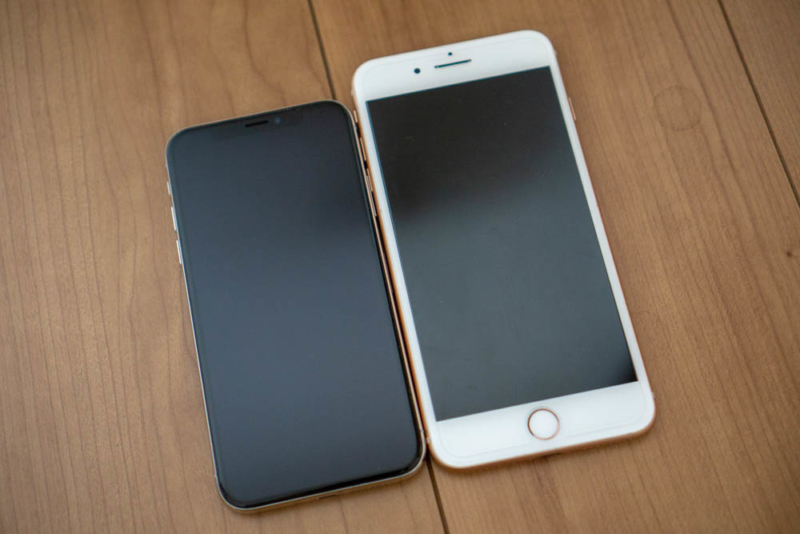iPhone 8 PlusはiPhone Xより一回り大きい