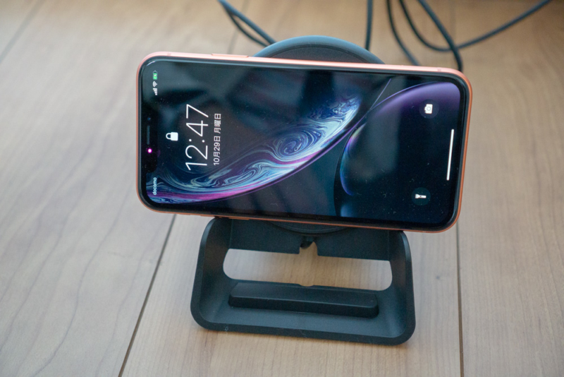 iPhone XRを横向きで充電