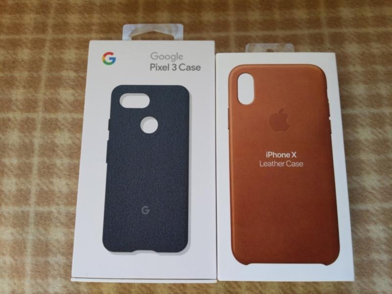 iPhone XとPixel 3の純正ケースの箱