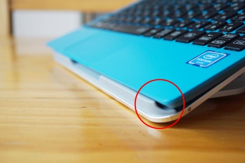 Humixx PC スタンド本体の下側ばくの字になっている
