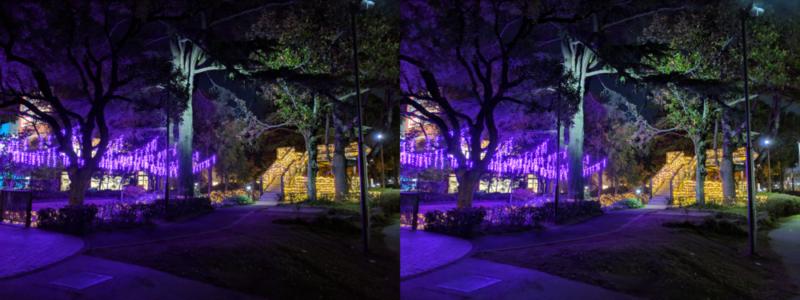 夜景モードと通常モードの比較