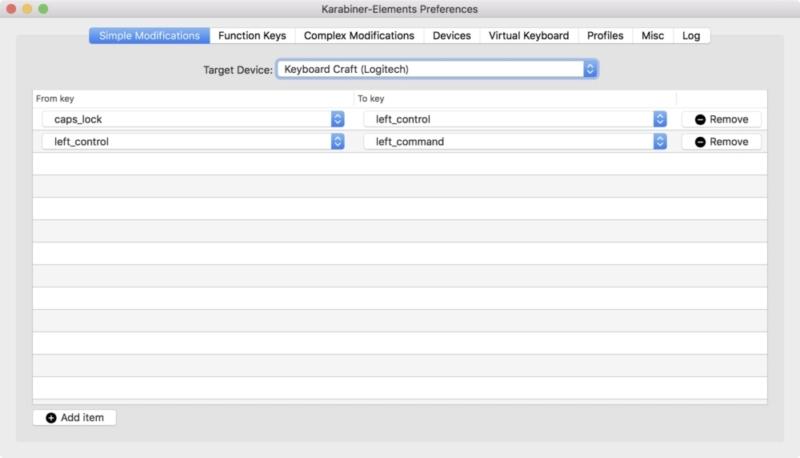 Logicool「CRAFTワイヤレスキーボード(KX1000s)」キーマップ変更画面