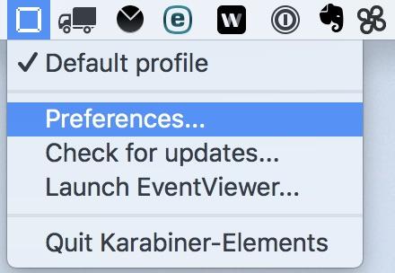 「Karabiner-Elements」の設定画面を表示する