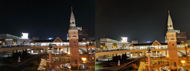 夜景モード比較 建物