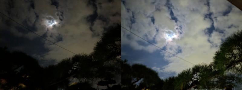夜景モード比較 月