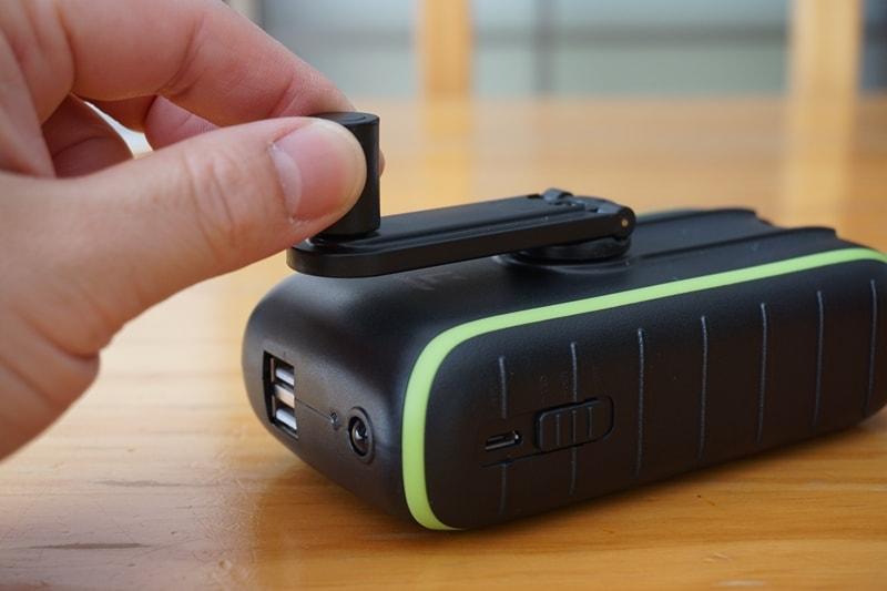 【Chargi-Q mini(チャージックミニ)ソーラーチャージャー モバイルバッテリー 】手回しハンドル