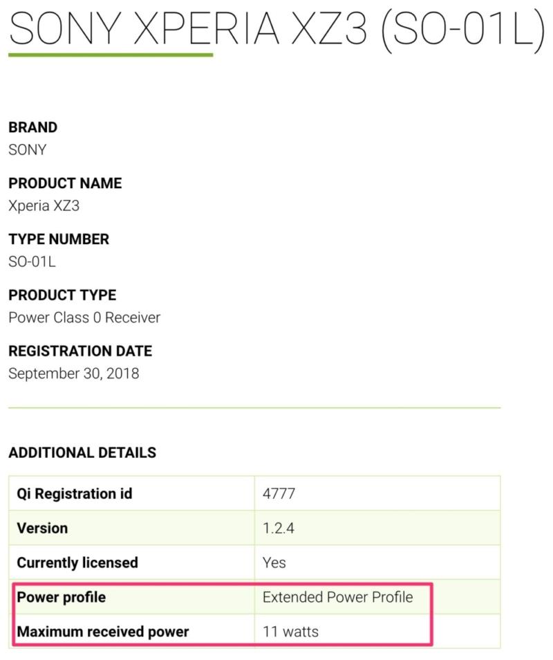 Xperia XZ3はExtended Power Profile対応