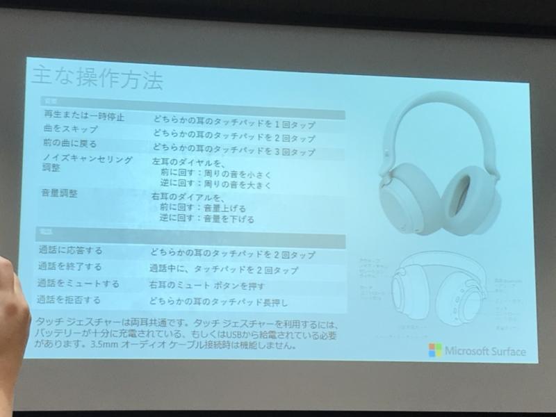 Surface Headphones操作一覧