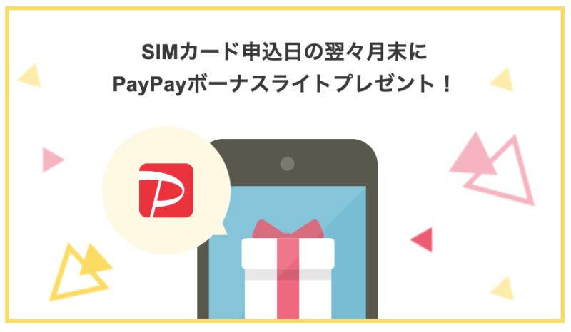 SIMカード申込日のよくよく月末にPayPayボーナスライトプレゼント