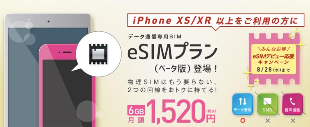 IIJmio(みおふぉん)「データ通信専用SIM eSIMプラン」