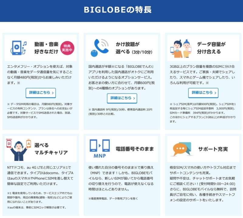 BIGLOBEモバイルの特徴