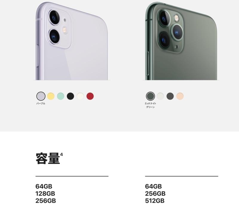 iPhone 11シリーズのストレージ