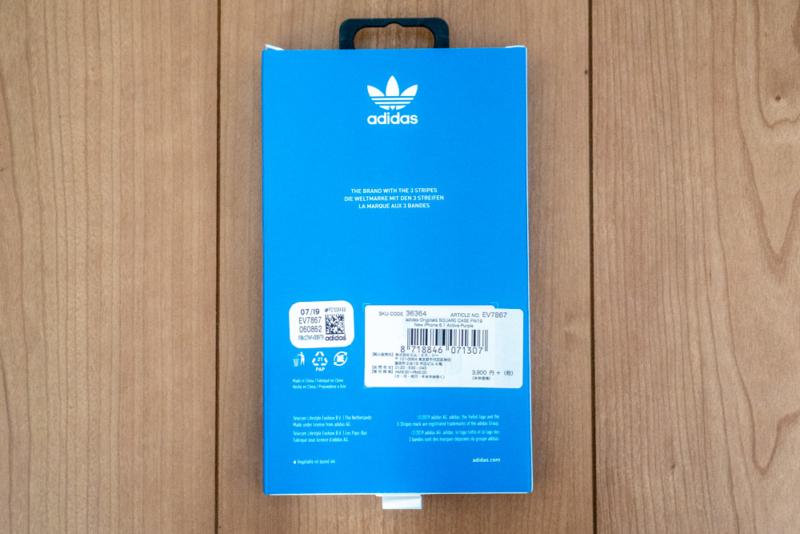 「adidas Originals SQUARE CASE FW19」パッケージ裏面