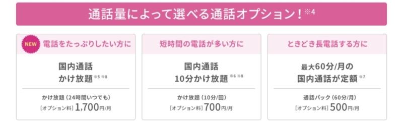 UQ mobile 通話オプション