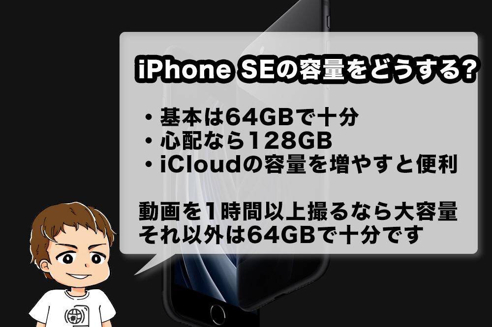 iPhone SE(第2世代)のストレージをどうするか