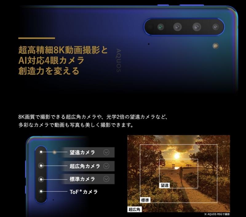 AQUOS R5Gのカメラは4眼カメラ
