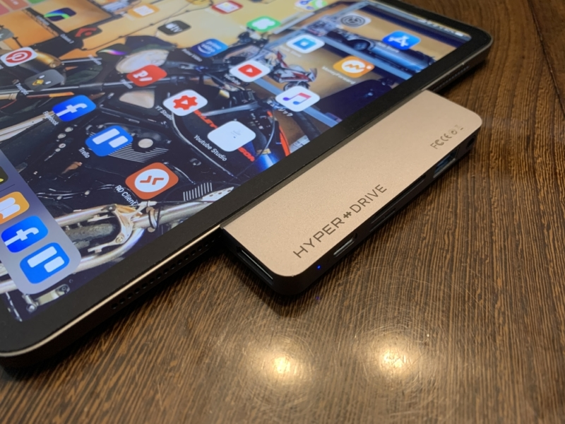 HyperDriveを装着したiPad Pro