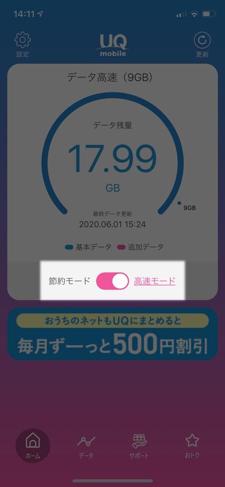 【UQ mobile】ターボ機能