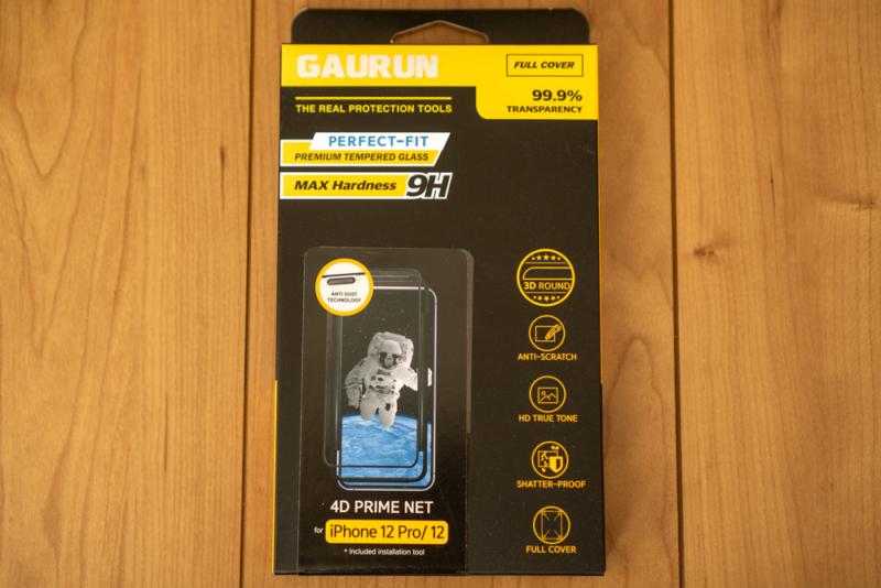 「GAURUN iPhone 12・12 Pro 6.1インチ用 ガラスフィルム」パッケージ