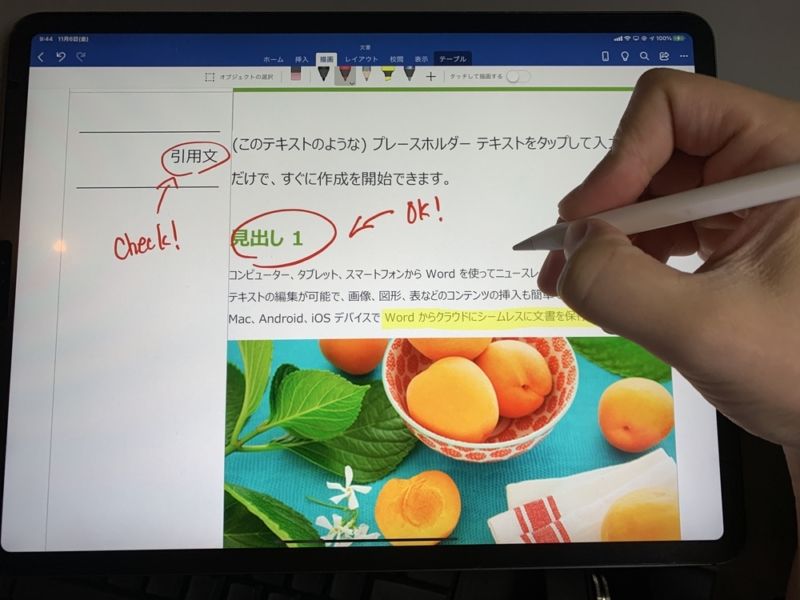 Apple Pencilを使って簡単に赤入れ可能
