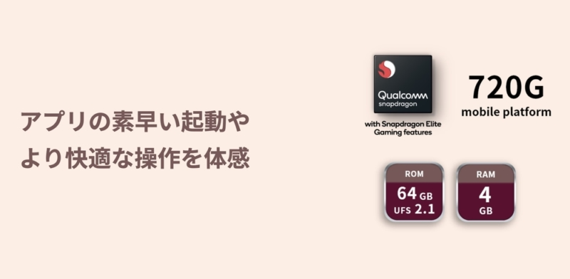 Snapdragon 720G採用